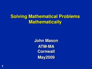 Solving Mathematical Problems Mathematically