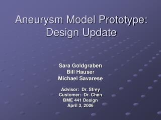 Aneurysm Model Prototype:    Design Update
