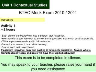 Unit 1 Contextual Studies