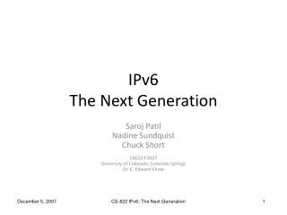 IPv6 The Next Generation