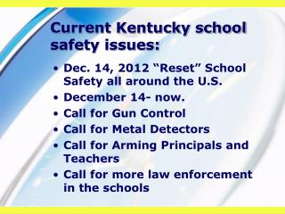 Current Kentucky school safety issues: