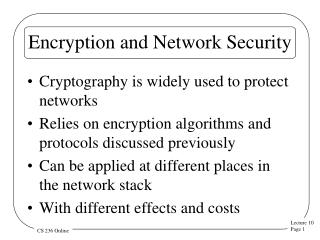 Encryption and Network Security