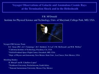 Voyager CRS Science Team: