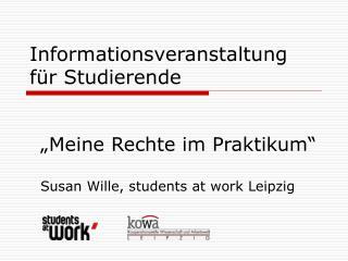 Informationsveranstaltung für Studierende