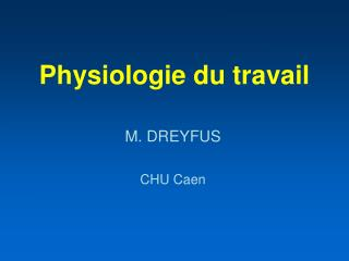 Physiologie du travail