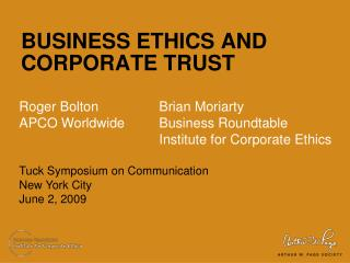 BUSINESS ETHICS AND  CORPORATE TRUST
