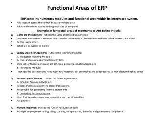 Functional Areas of ERP