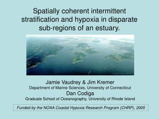 Spatially coherent intermittent stratification and hypoxia in disparate sub-regions of an estuary.