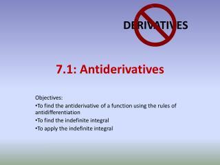 7.1:  Antiderivatives