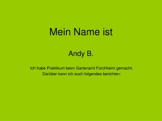 Mein Name ist