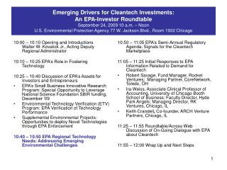 10:50 – 11:05 EPA's Semi-Annual Regulatory Agenda: Signals for the Cleantech Marketplace