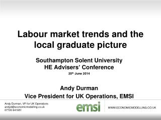 Labour market trends and the local graduate picture