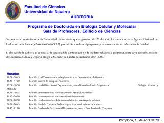 AUDITORIA Programa de Doctorado en Biología Celular y Molecular