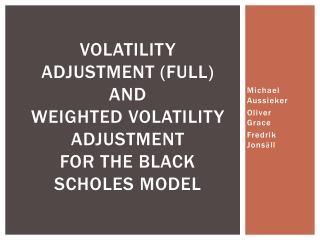 Volatility Adjustment (Full ) and  Weighted  Volatility  Adjustment for the Black Scholes Model