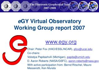 e GY Virtual Observatory Working Group report 2007