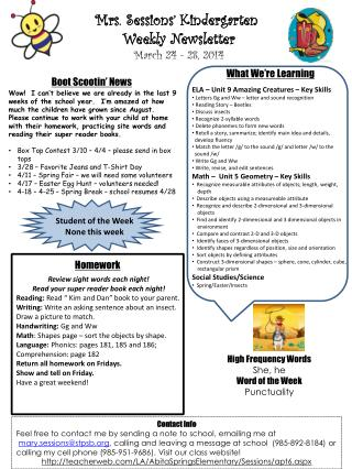 Mrs. Sessions' Kindergarten  Weekly Newsletter March  24 - 28 ,  2014