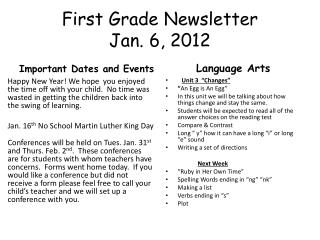 First Grade Newsletter Jan. 6, 2012