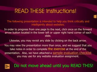 READ THESE Instructions!