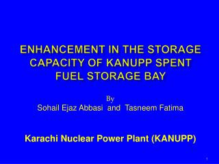 ENHANCEMENT IN THE STORAGE CAPACITY OF KANUPP SPENT FUEL STORAGE BAY