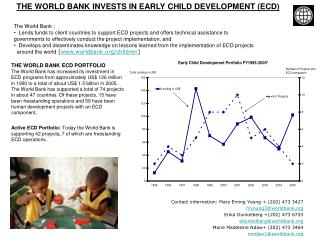 THE WORLD BANK INVESTS IN EARLY CHILD DEVELOPMENT (ECD)