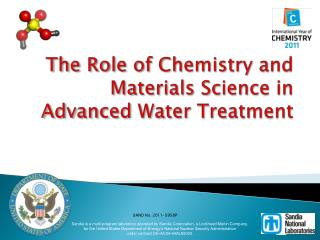 The Role of Chemistry and Materials Science in Advanced Water Treatment