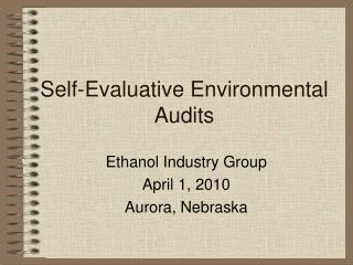 Self-Evaluative Environmental Audits