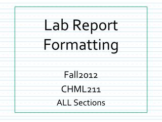 Lab Report Formatting