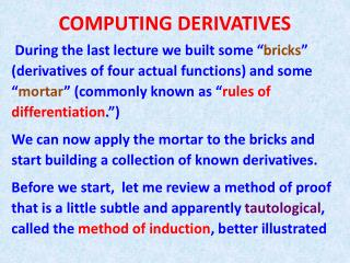 COMPUTING DERIVATIVES