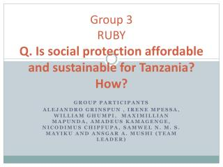 Group 3 RUBY Q. Is social protection affordable and sustainable for Tanzania How