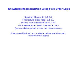 Knowledge Representation using First-Order Logic