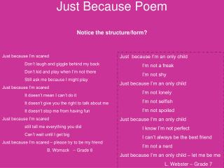 Just Because Poem