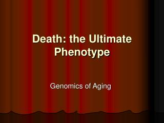 Death: the Ultimate Phenotype