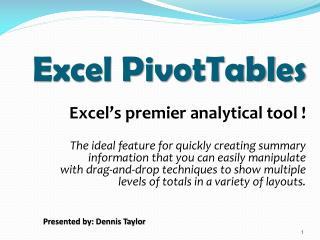 Excel PivotTables