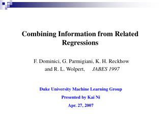 Combining Information from Related Regressions