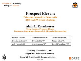Prospect Eleven:  Princeton University's Entry in the  2005 DARPA Grand Challenge