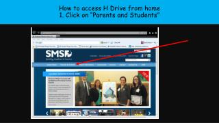 "How to access H Drive from home 1. Click on ""Parents and Students"""