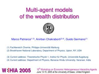 Multi-agent models of the wealth distribution