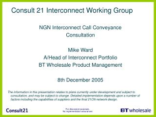 Consult 21 Interconnect Working Group