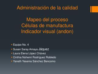 Administración de la calidad Mapeo del proceso Células de manufactura Indicador visual (andon)