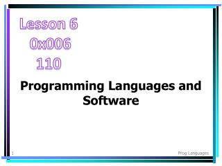Programming Languages and Software