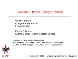 Excitons – Types, Energy Transfer