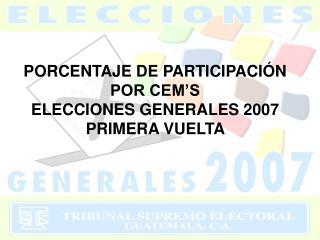 PORCENTAJE DE PARTICIPACI N  POR CEM S  ELECCIONES GENERALES 2007 PRIMERA VUELTA