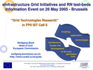 eInfrastructure Grid Initiatives and RN test-beds Information Event on 26 May 2005 - Brussels