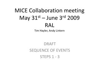 MICE Collaboration meeting May 31 st  – June 3 rd  2009 RAL Tim Hayler, Andy Lintern