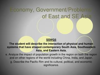 Economy, Government/Problems of East and SE Asia