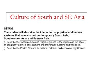 Culture of South and SE Asia