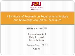 A Synthesis of Research on Requirements Analysis and Knowledge Acquisition Techniques