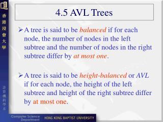 4.5 AVL Trees