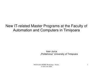 New IT-related Master Programs at the Faculty of Automation and Computers in Timișoara