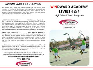 ACADEMY LEVELS  4 & 5 OVERVIEW